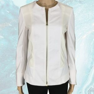 Donna Karan Collarless Silk Panel Jacket